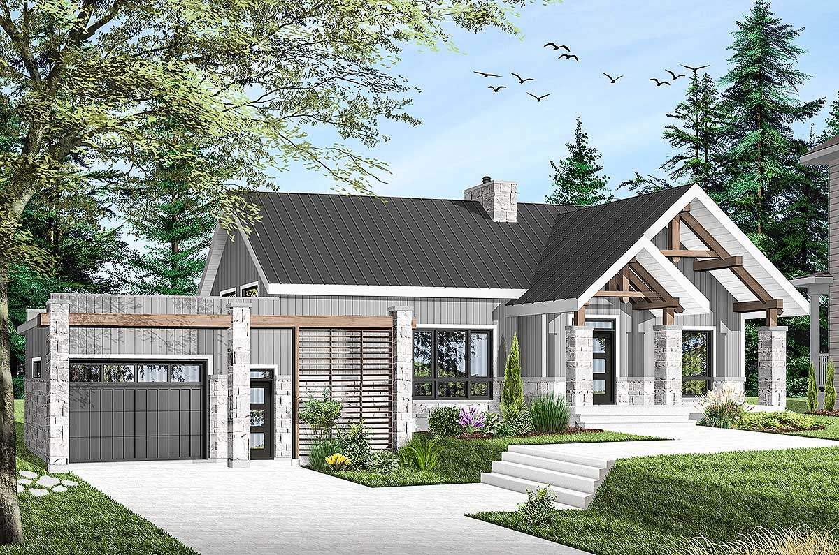 Modern Ranch Home Plan With Vaulted Interior 22493dr