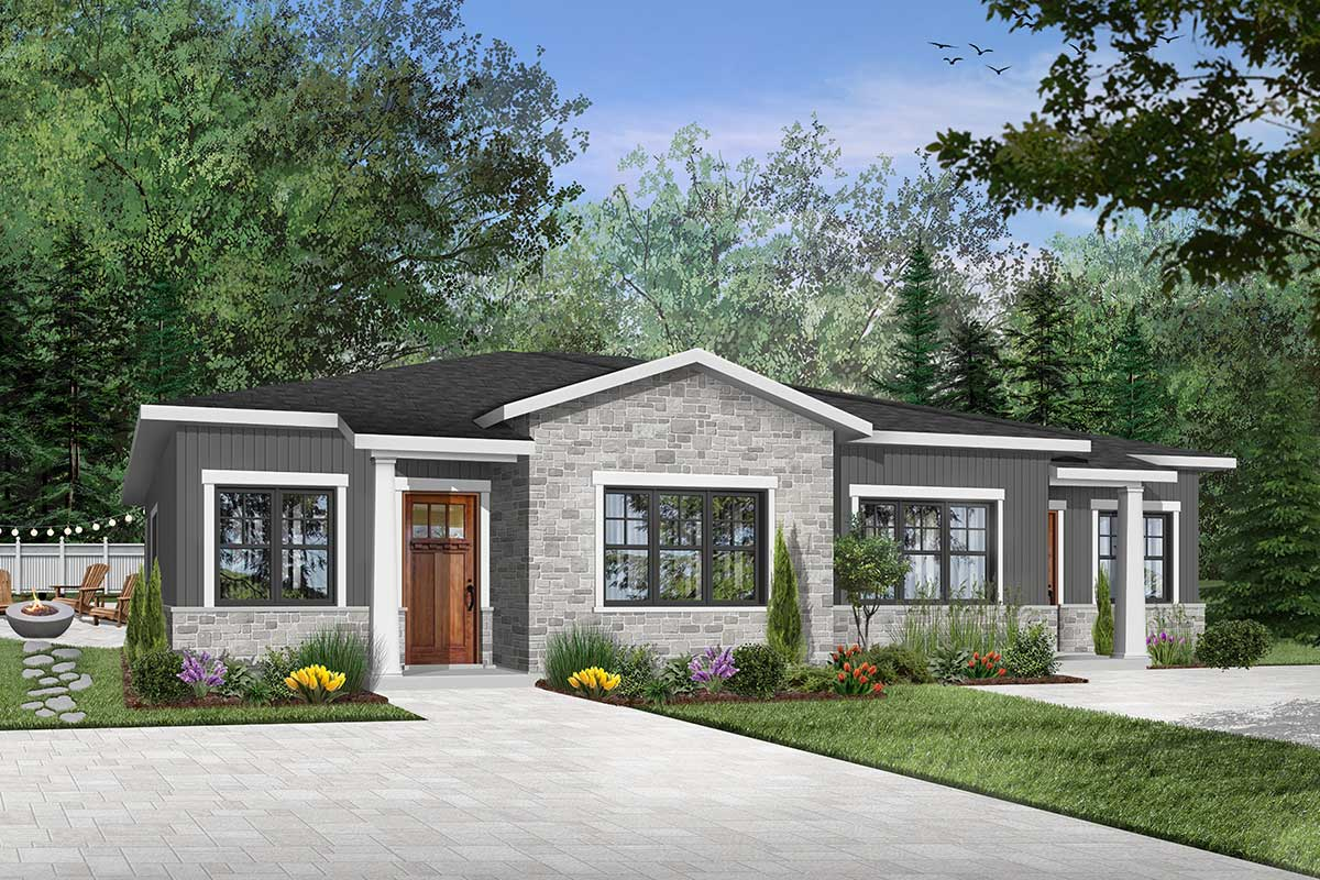 Modern Ranch Duplex With Matching 2-bed Units - 22484dr
