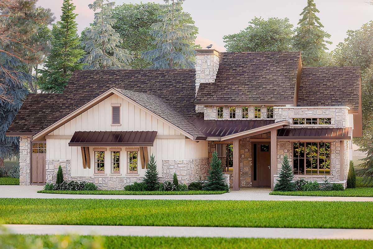 Mountain Craftsman House Plan With Stone And Board