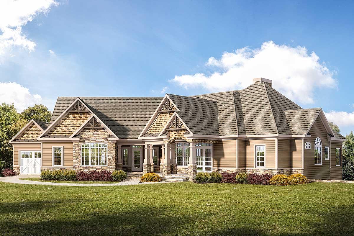 Craftsman Ranch Home Plan With 3-car Garage - 360008dk