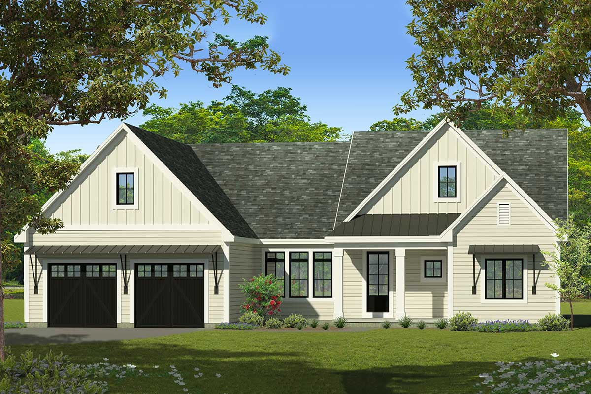 3-bed -story House Plan With Vaulted Great Room