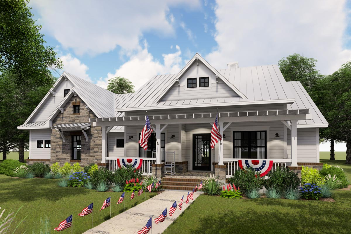 Modern Farmhouse With Side Load Garage And Optional Bonus