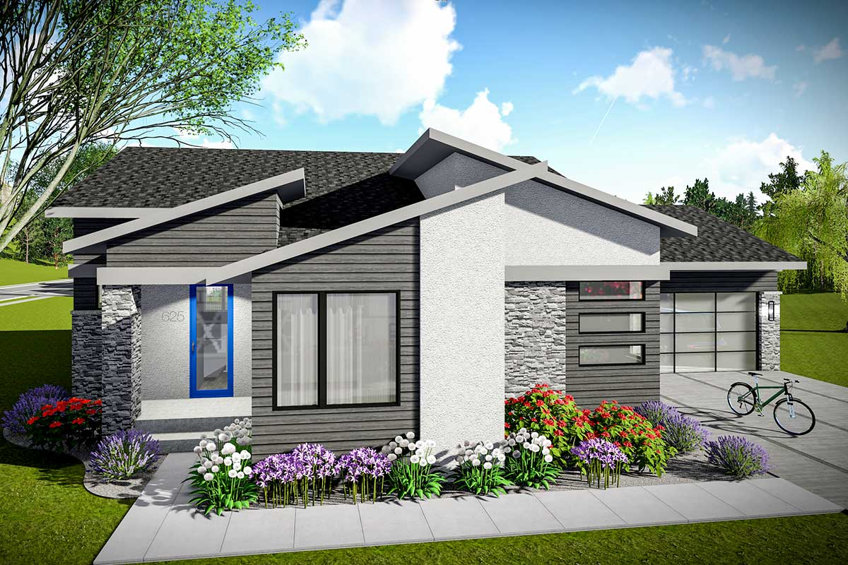 3 Bed Modern Prairie Starter Home Plan 890071ah