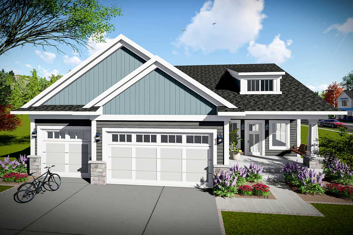 Classic Craftsman Ranch Home Plan With 3 Bedrooms
