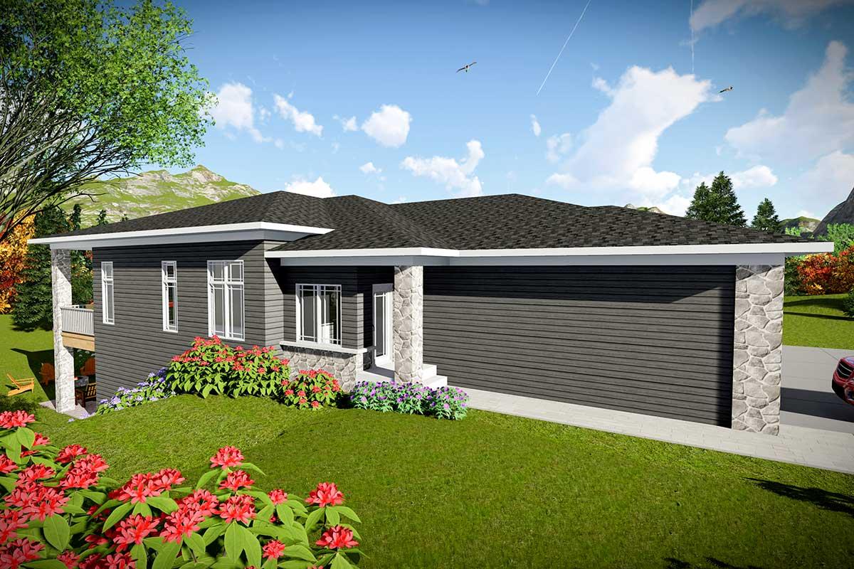 Modern Duplex House Plan For A Rear Sloping Lot 890093ah