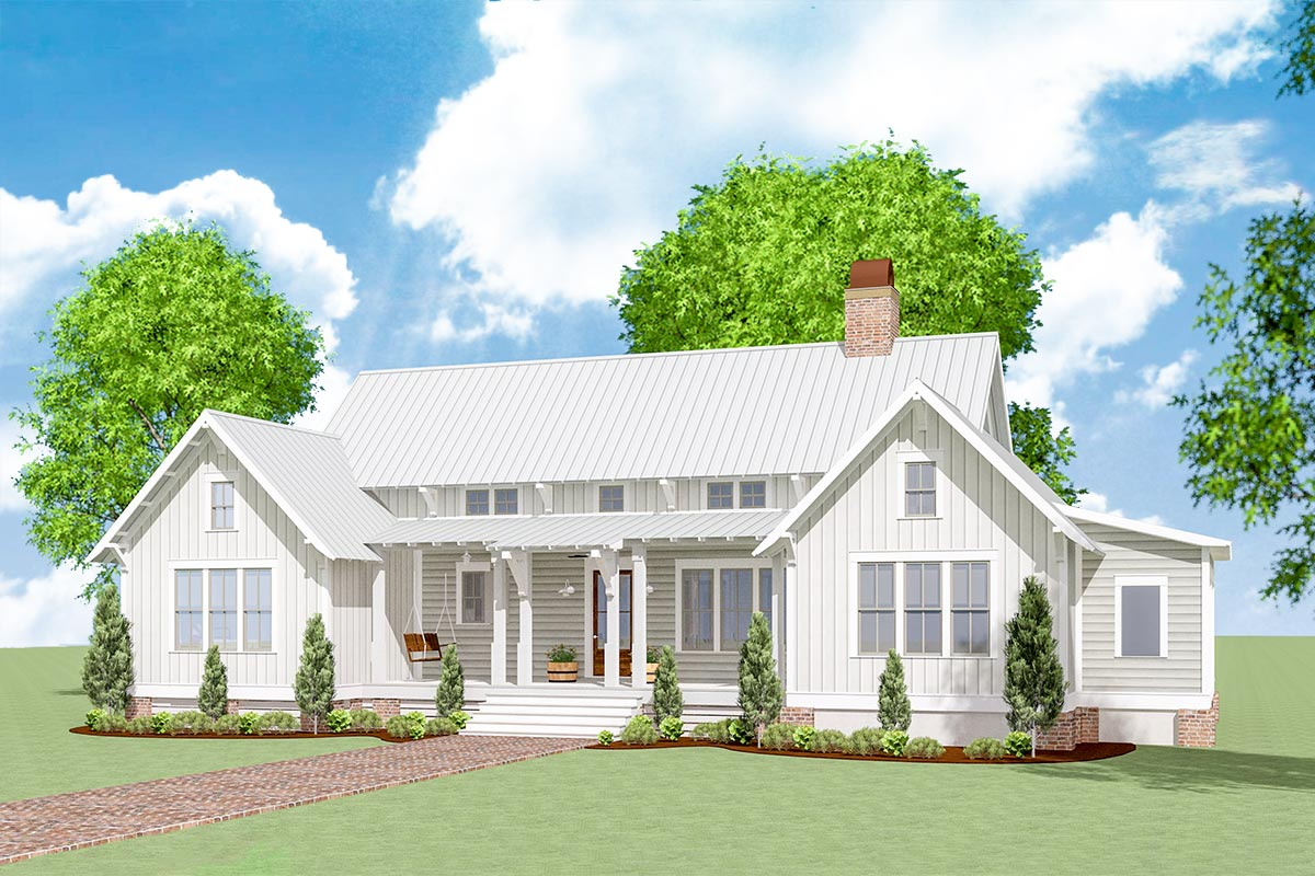 Exclusive Modern Farmhouse Plan With One Floor Living