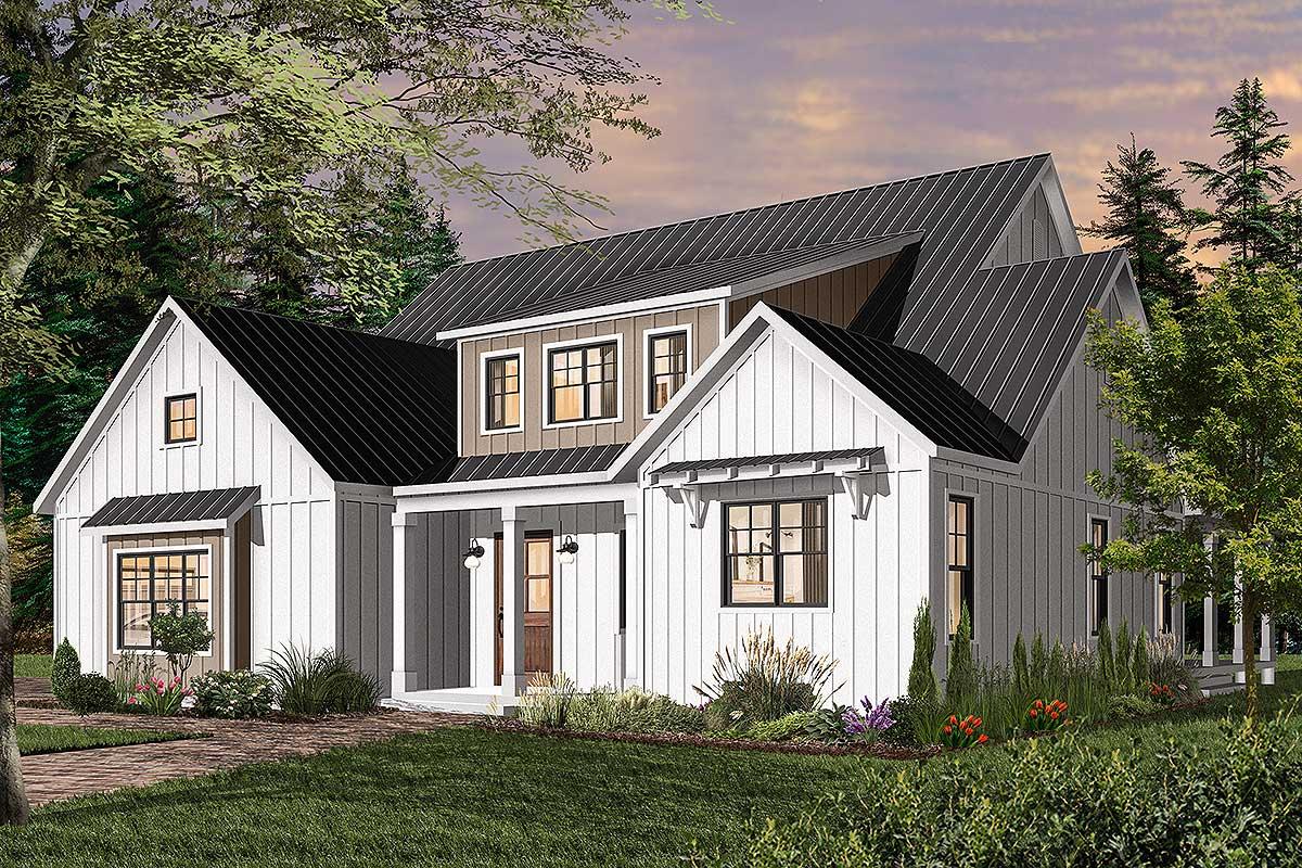 Split Bedroom Modern Farmhouse Plan With Main Floor Master