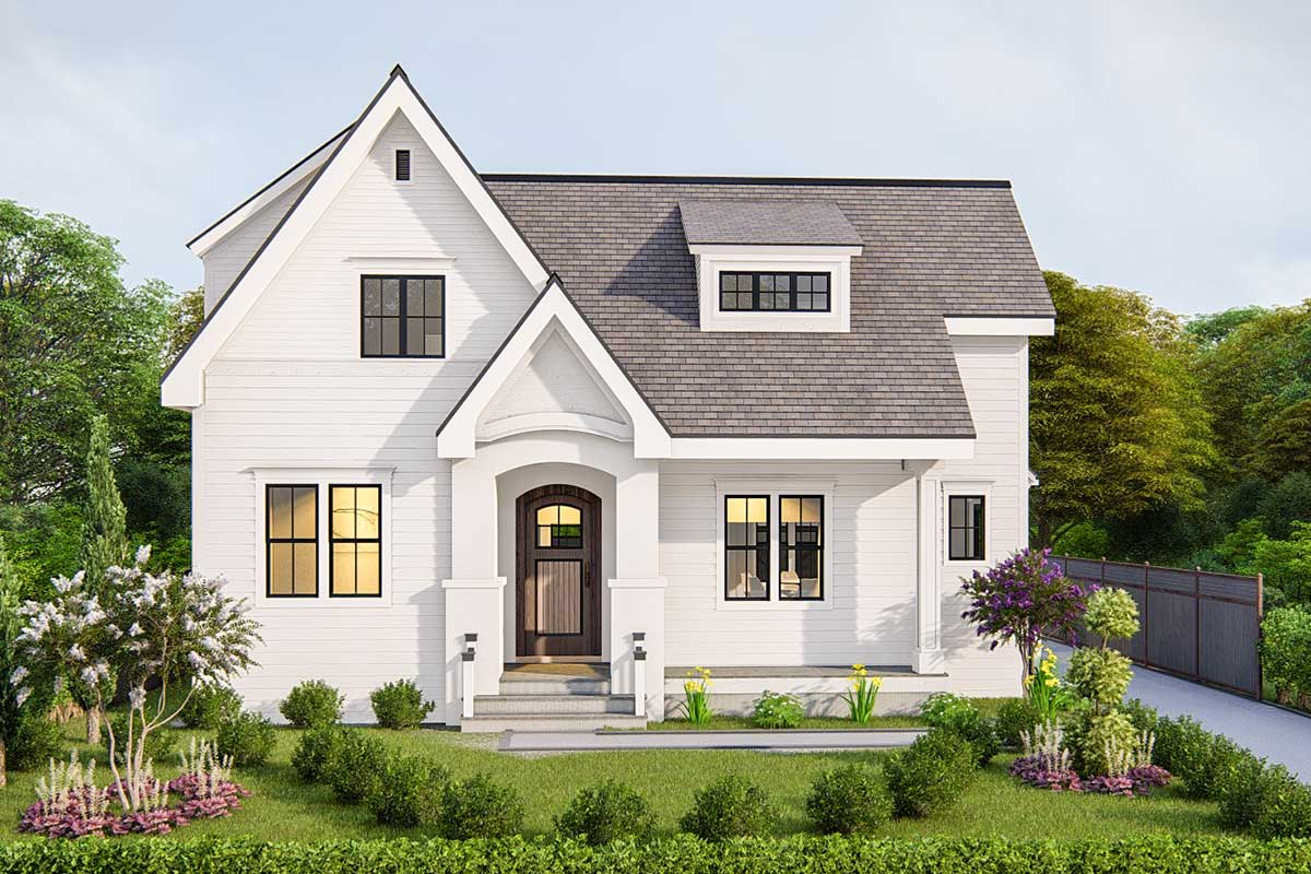 Modest-sized 3-bed House Plan With 2-sided Fireplace