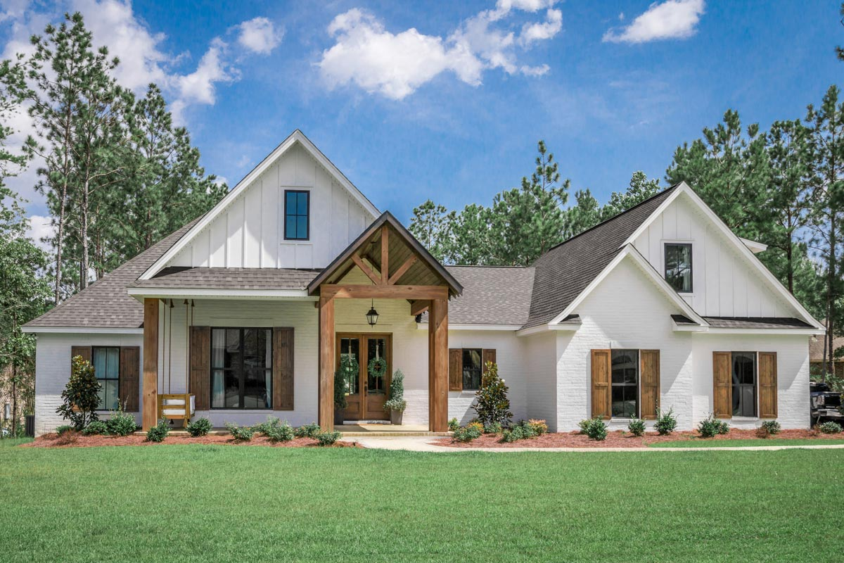 4-bed Southern French Country House Plan With 2-car Garage