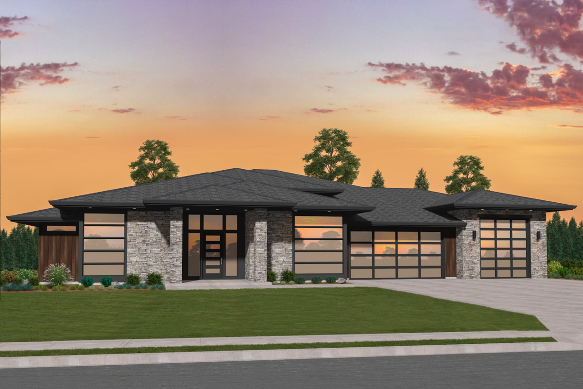 Exclusive Modern House Plan With Side Courtyard 85274ms
