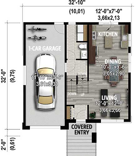 Modern 2 Bed Split Level Home Plan 80915pm