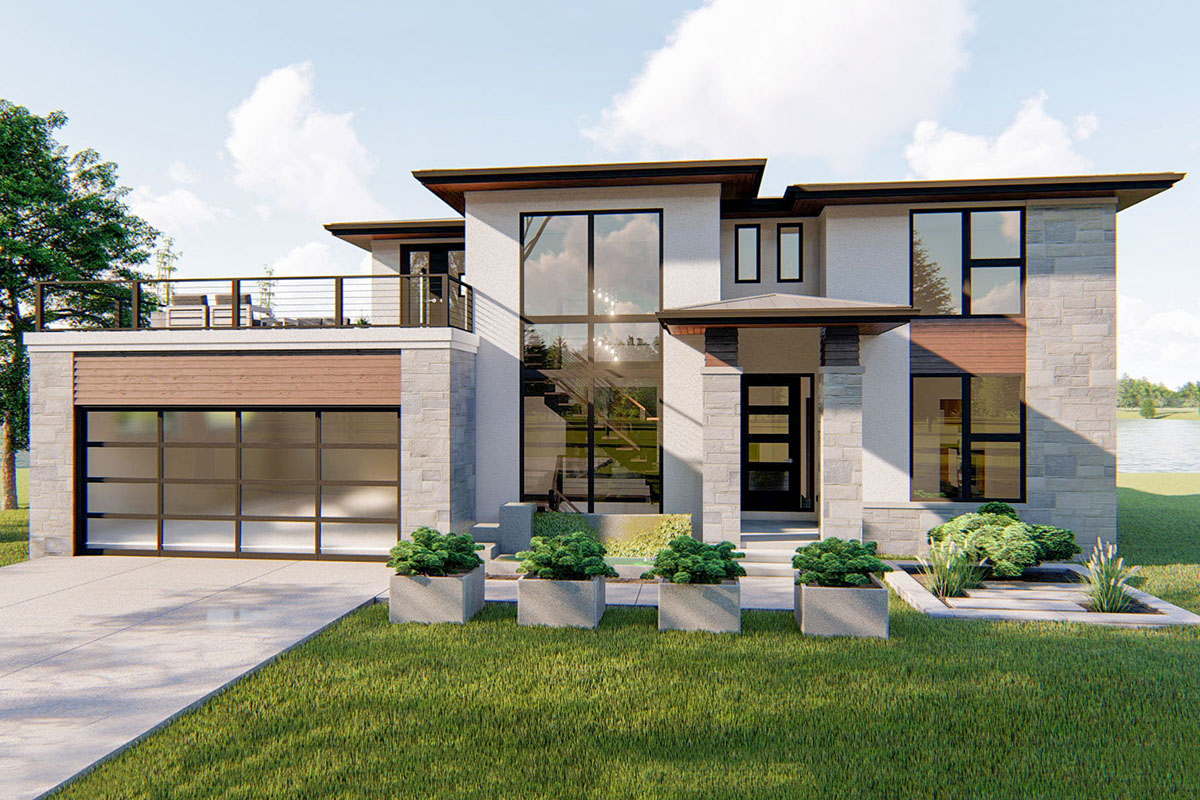 4Bed Modern PrairieStyle House Plan with Massive Balcony