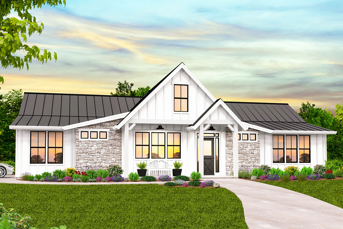 Exclusive One Story Modern Farmhouse Plan With Private