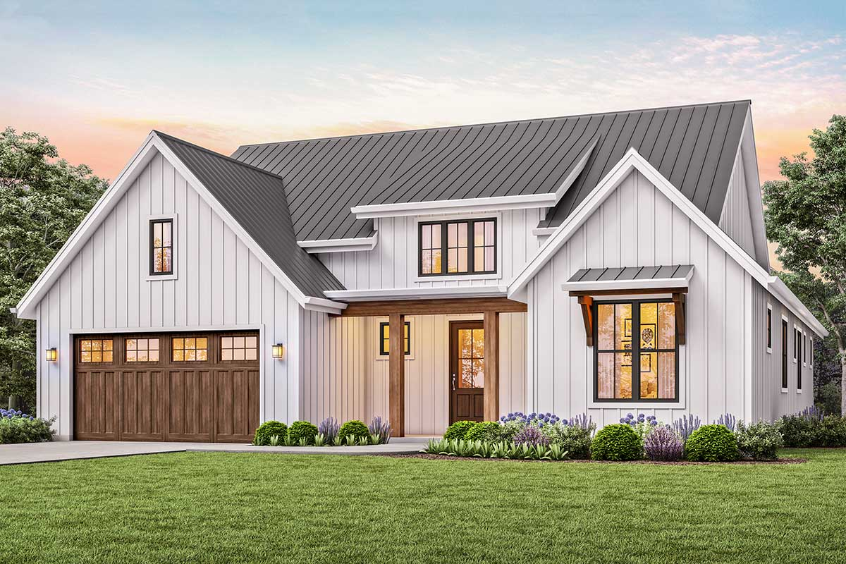 3 Bed New American House Plan With Vaulted Great Room