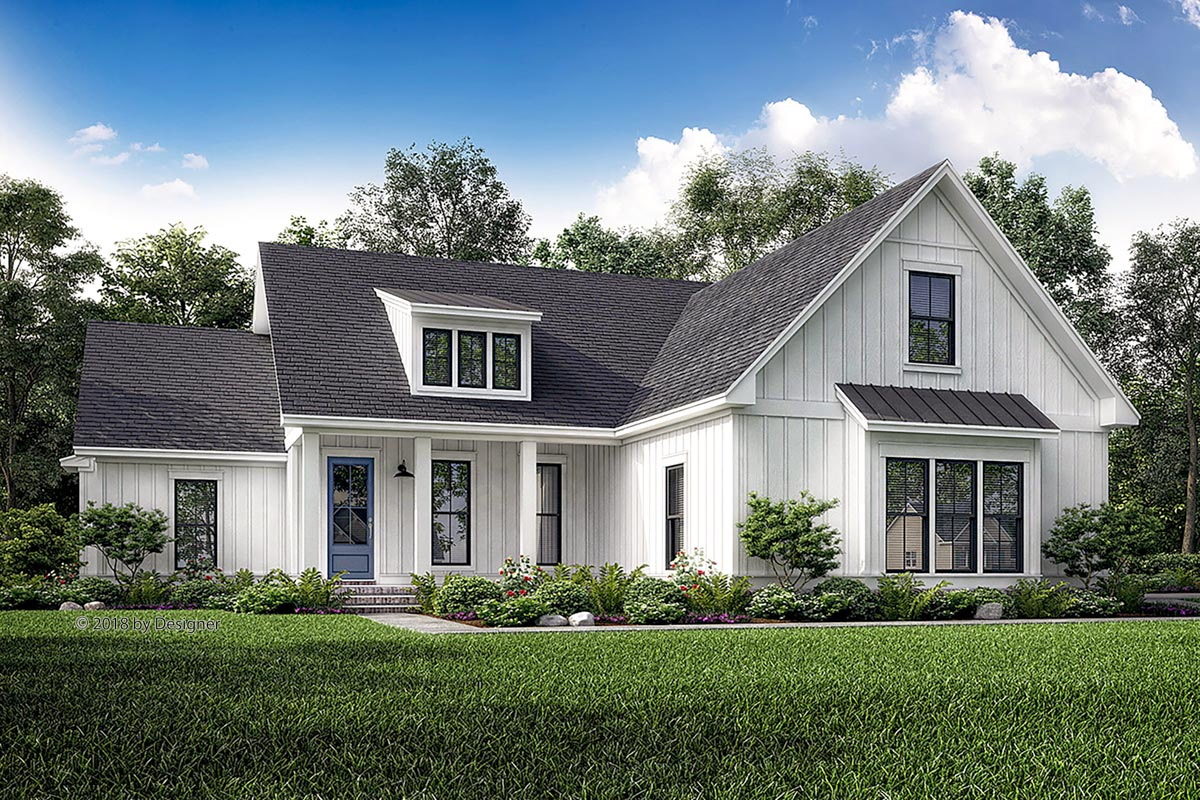 Cottage House Plan With Full Front Porch And Shed Dormer - Year of