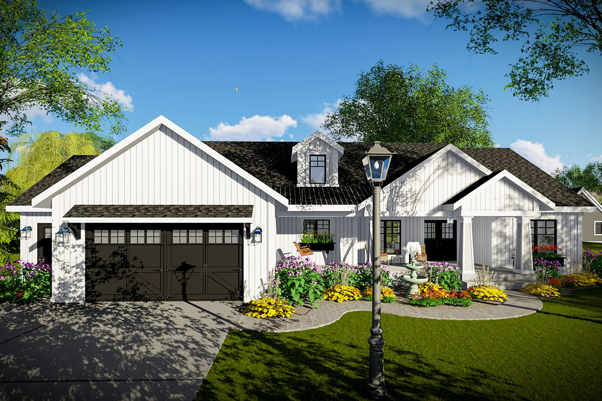 American Ranch Home Plan With 3-car Garage - 890105ah