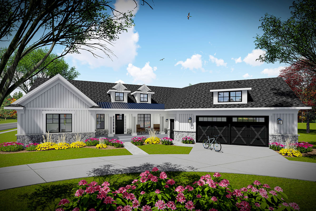 3-bed Modern Farmhouse Ranch Home Plan With Angled Garage