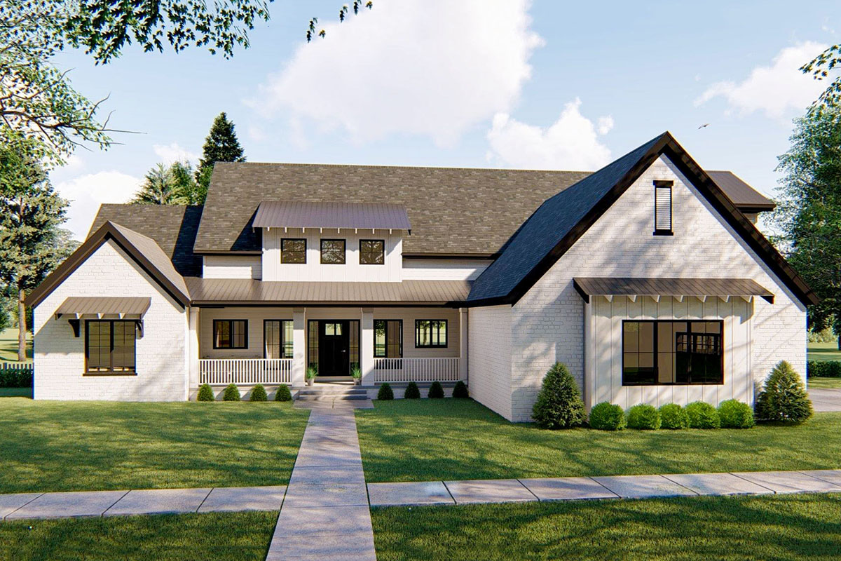 4-bed Modern Farmhouse Plan With Vaulted Great Room