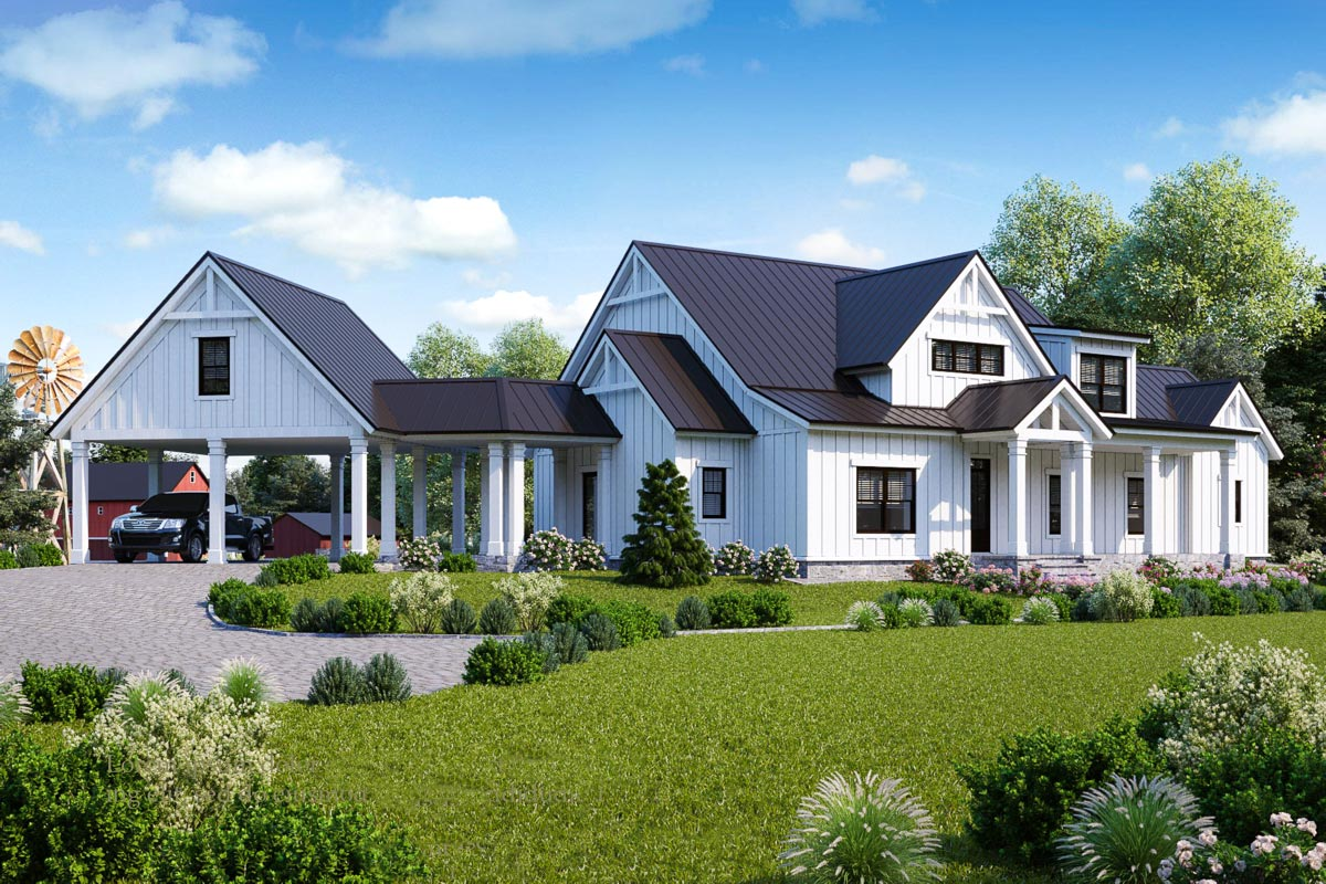 Exclusive Modern Farmhouse Plan With Loft Overlook