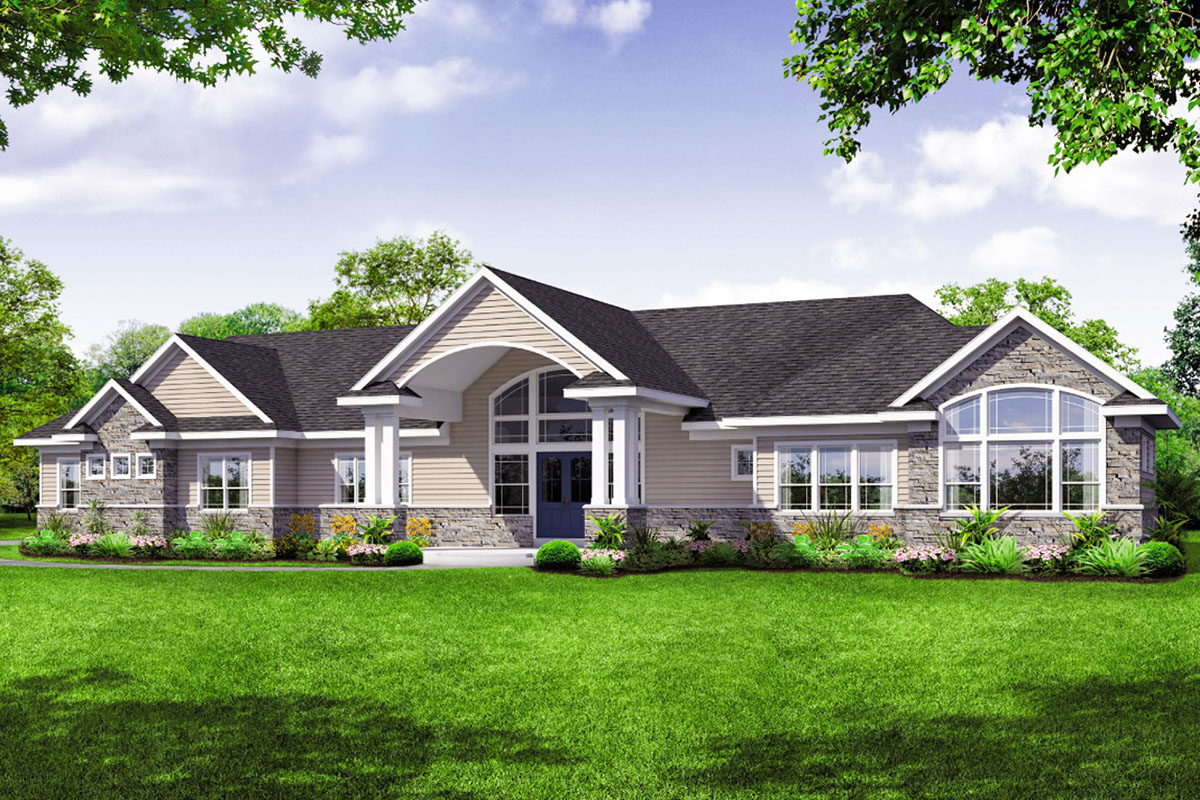 Sprawling -story House Plan With Vaulted Great Room