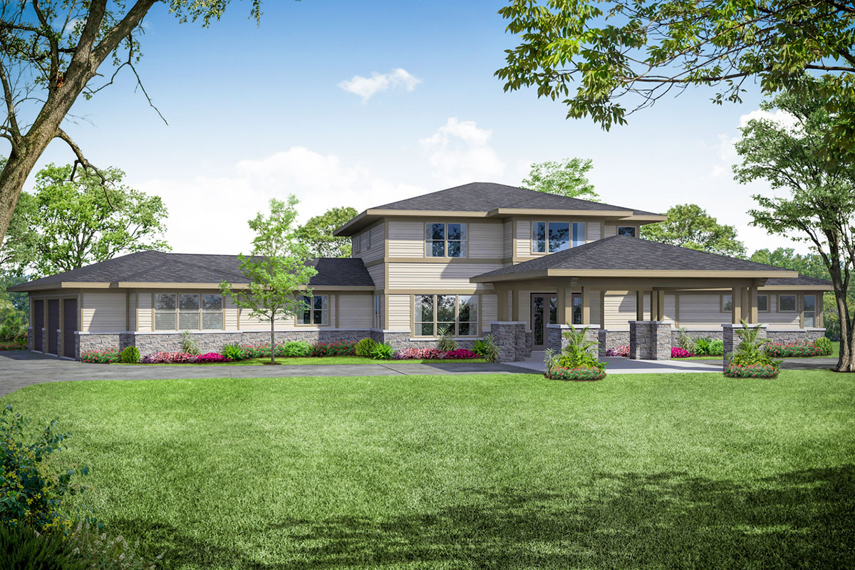 Contemporary Prairie Style Home Plan With Upstairs Play