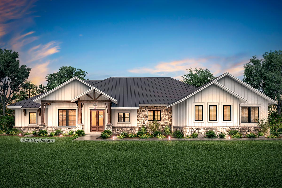 Hill Country Ranch Home Plan With Vaulted Great Room