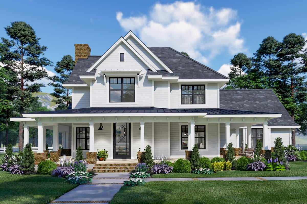 Eye-catching Modern Farmhouse With Two-story Great Room