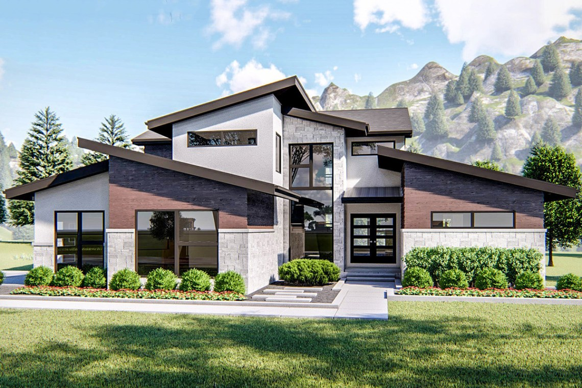 Bold 4-Bed Modern House Plan with Rear Covered Patio ...