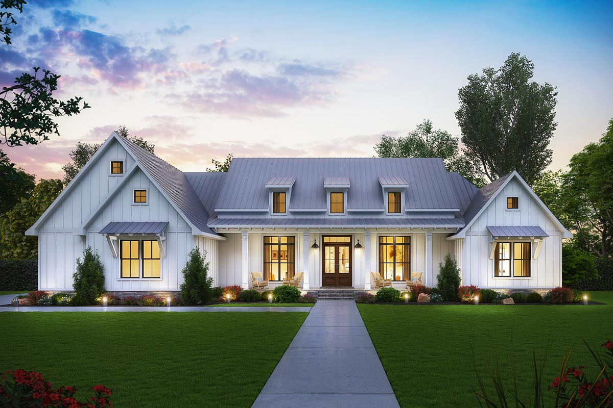 Exclusive Modern Farmhouse Plan With Split Bedroom Layout