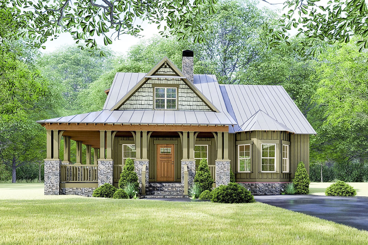 Rustic Cottage House Plan With Wraparound Porch - 70630mk