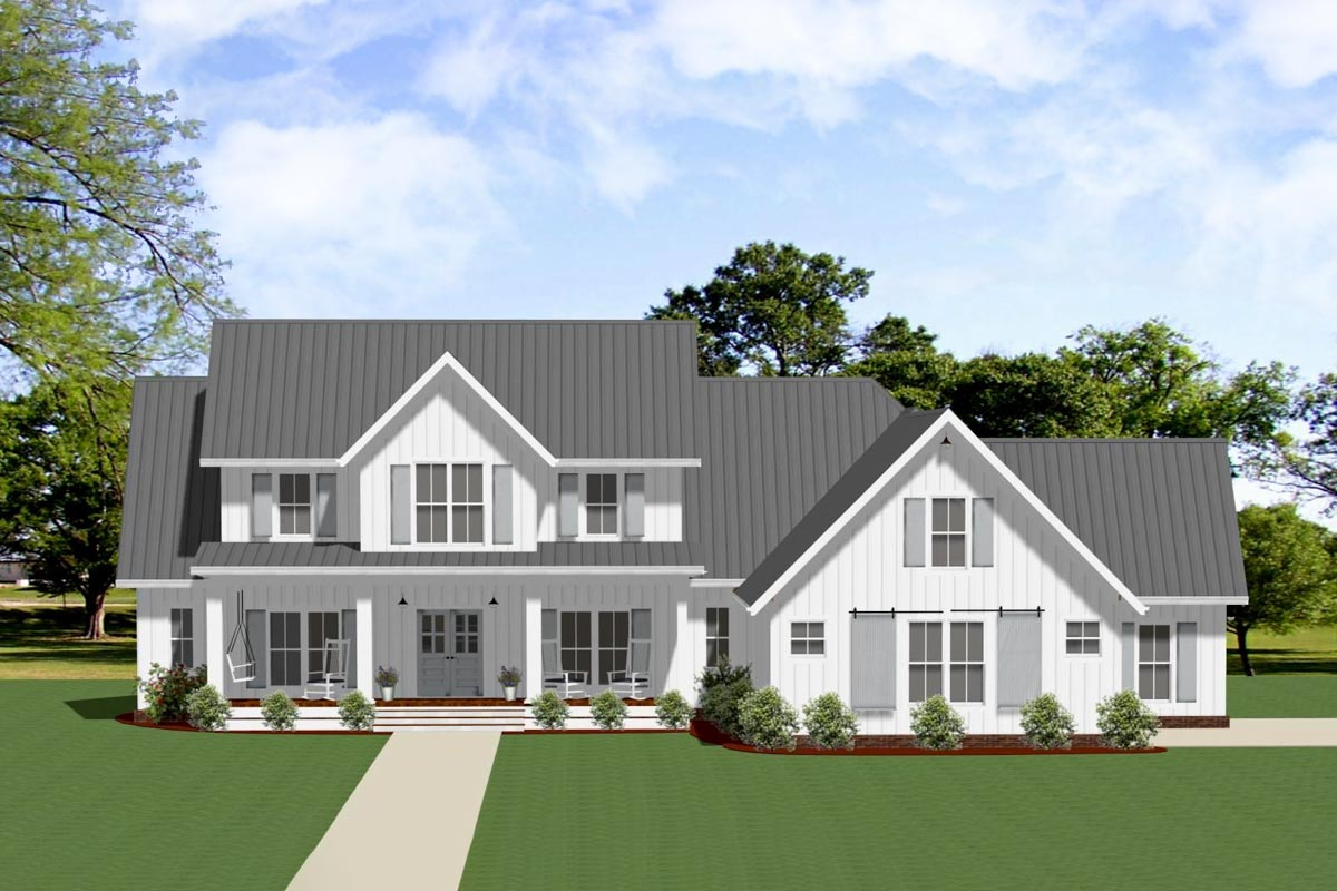 Exclusive Modern Farmhouse Plan With Outdoor Living Room