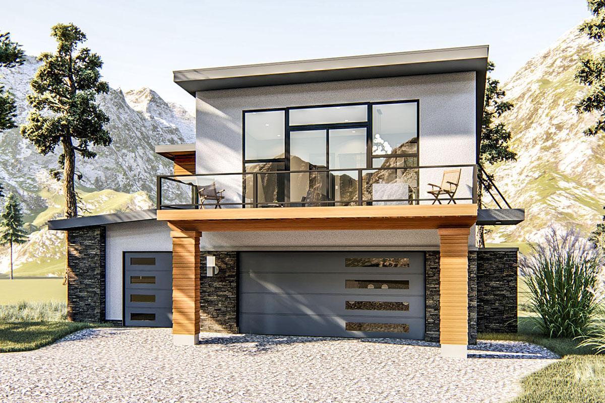 3-car Modern Garage Apartment Plan - 62775dj