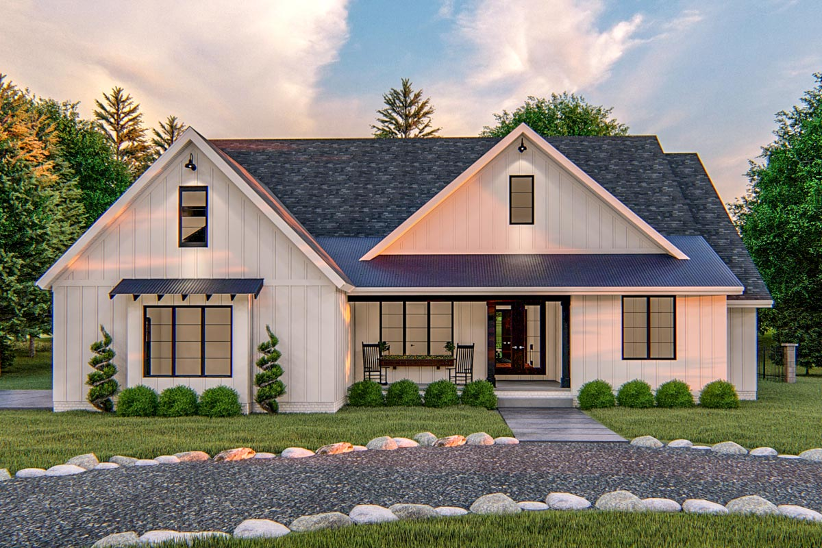 Exclusive Modern Farmhouse Plan With Split Bedrooms