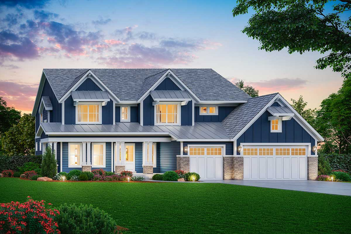 Exclusive Modern Farmhouse Plan With 2 Story Great Room
