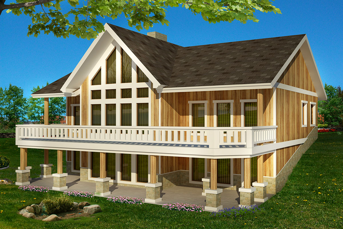 Mountain Home Plan With Rear Wall Of Windows - 35501gh