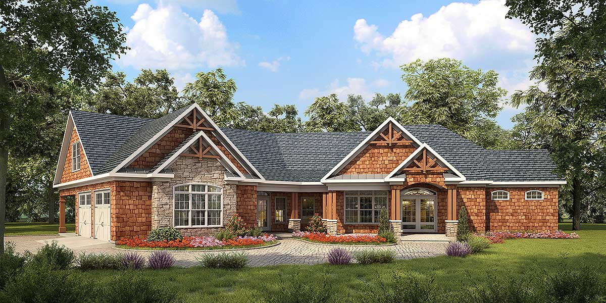 Angled Craftsman House Plan 36028dk Architectural
