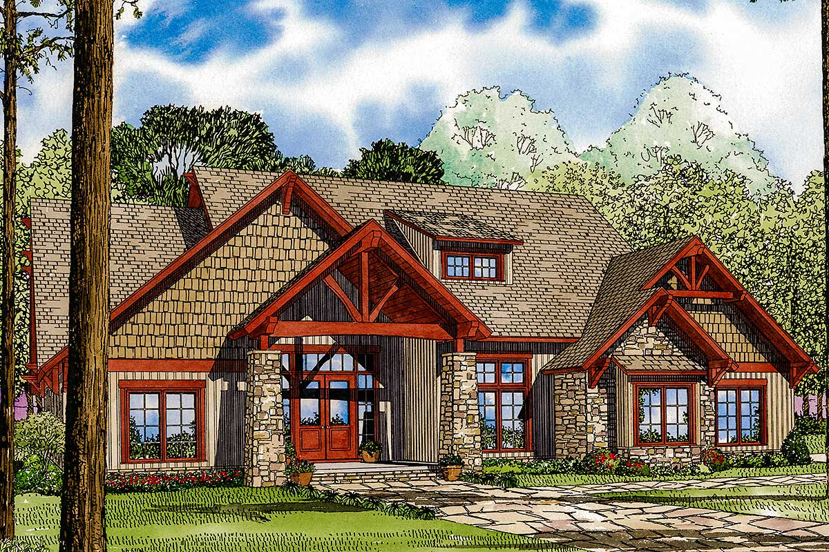 Rich And Rustic 4-bed House Plan - 59977nd Architectural