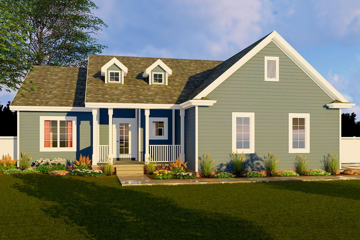 One Story Cottage With Alternate Modern Farmhouse Exterior