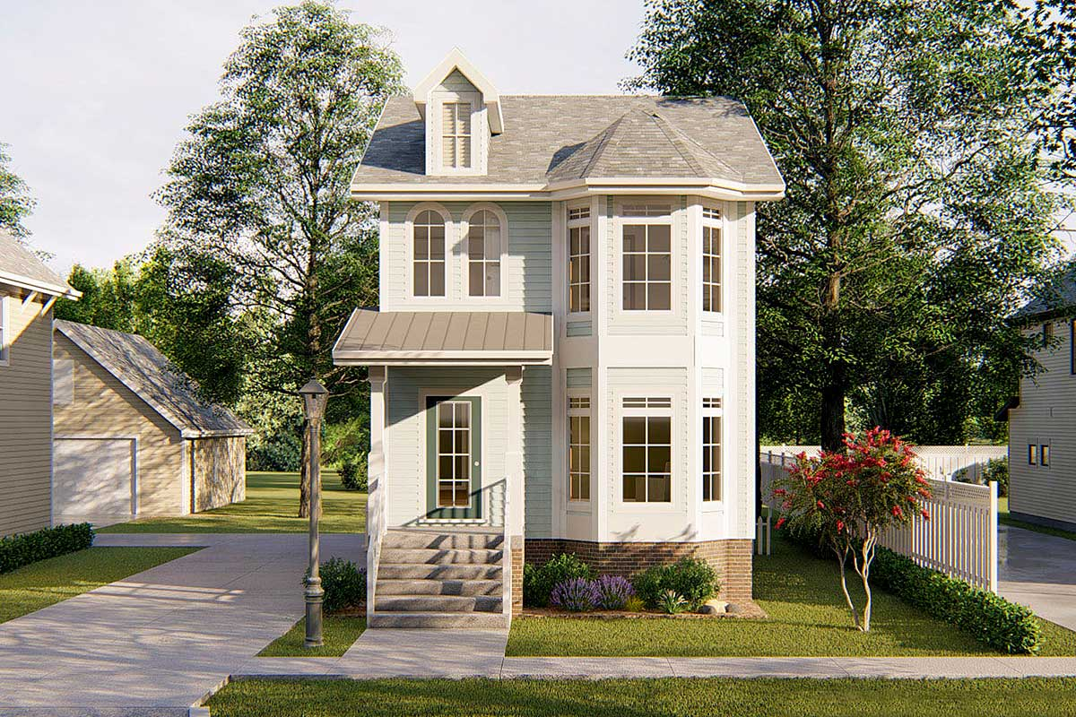 Narrow Lot Townhouse - 62557dj Architectural Design