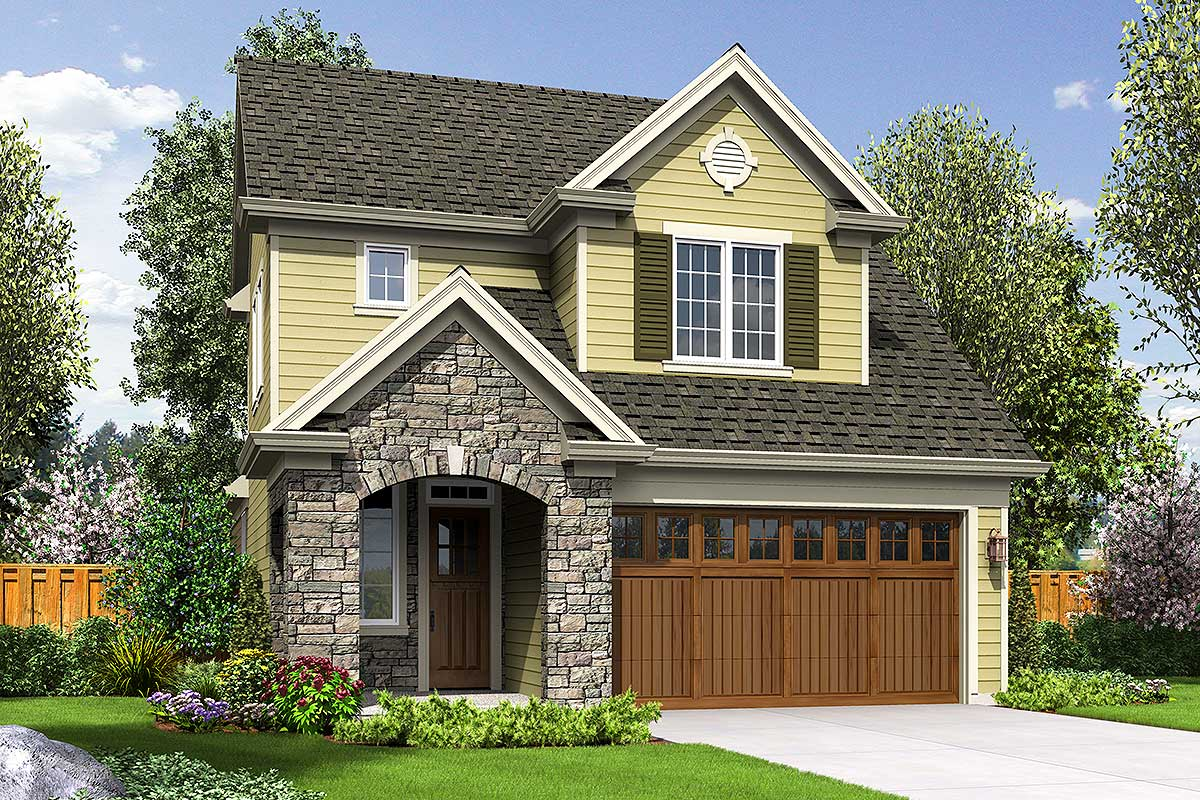 Narrow Lot Traditional Home Plan - 69546am Architectural