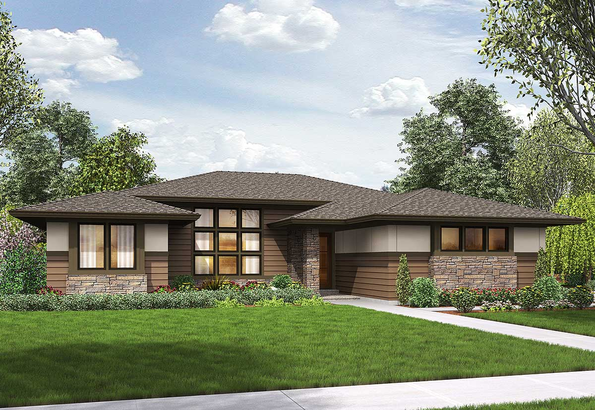 3 Bed Modern Prairie Ranch House Plan - 69603am