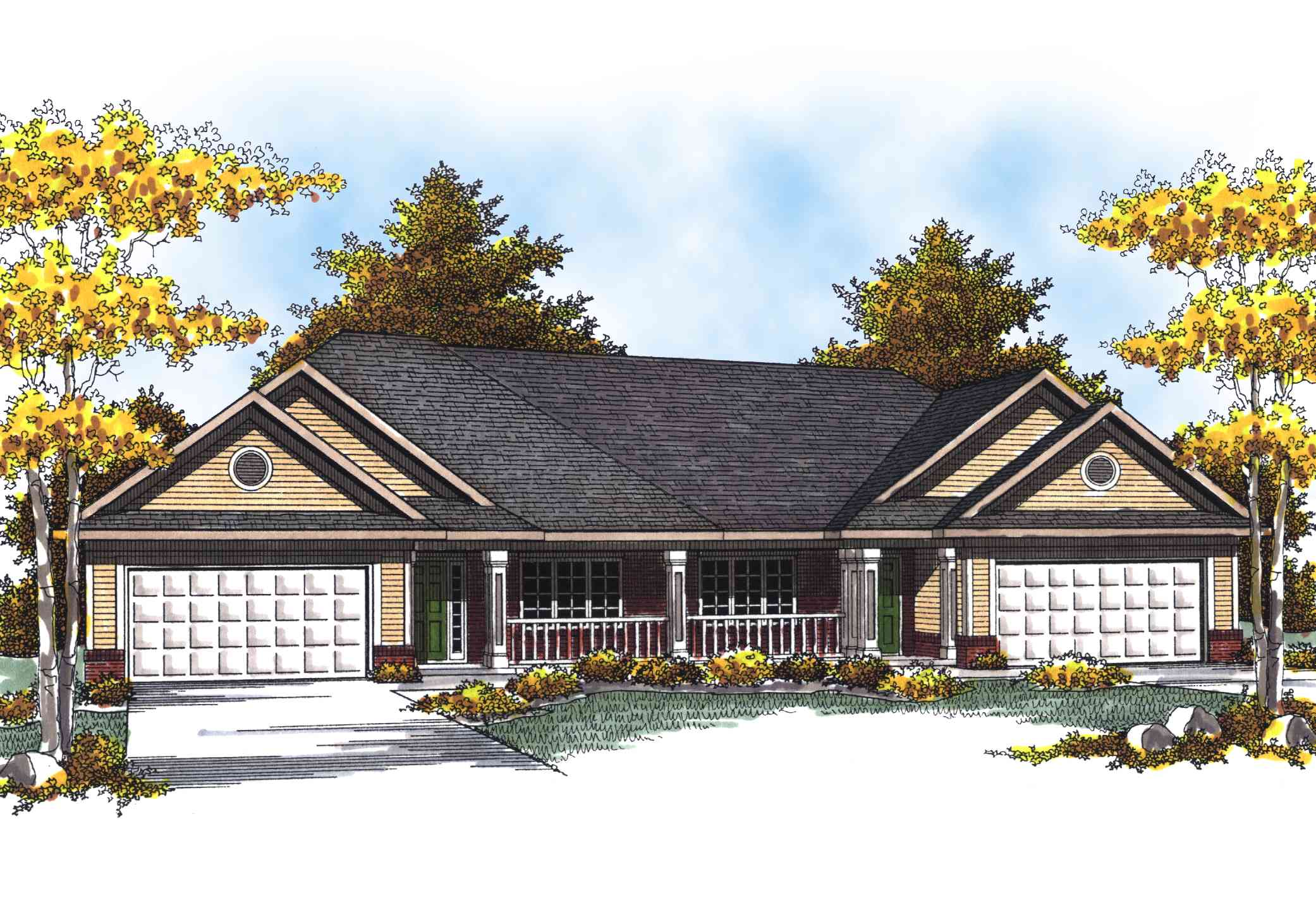 Traditional Ranch Duplex Home Plan - 89293ah