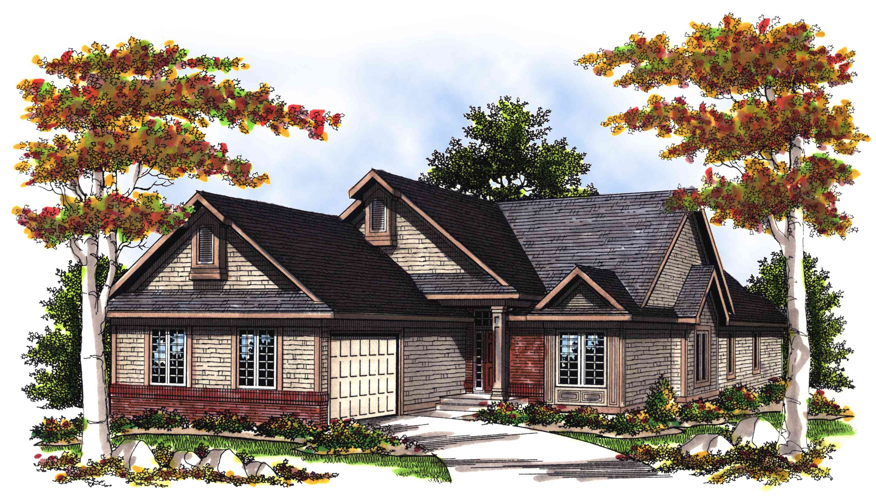 Vaulted Great Room House Plan - 89439ah Architectural