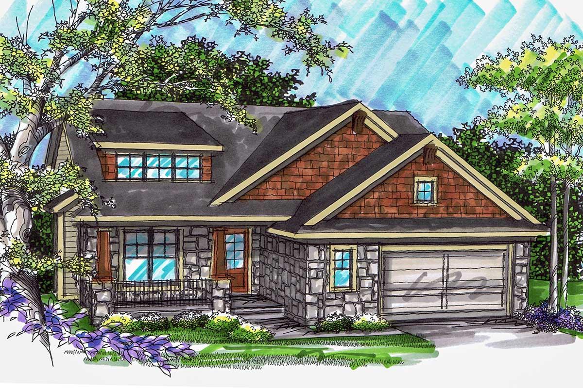 Split Level Craftsman Home Plan - 89784ah Architectural