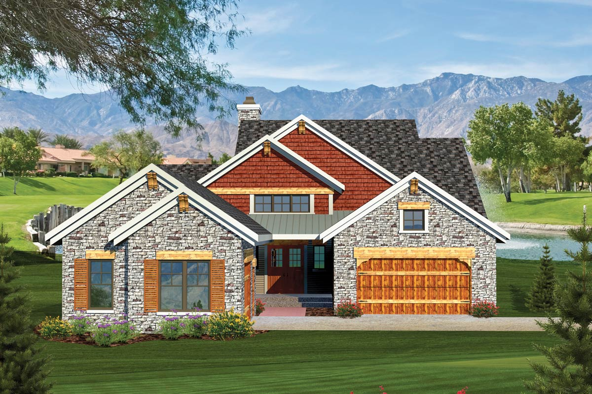 2 Bedroom Rustic Ranch Home Plan - 89826ah Architectural