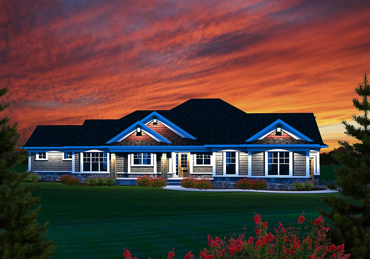 3 Bedroom Sprawling Ranch Home Plan 89884ah