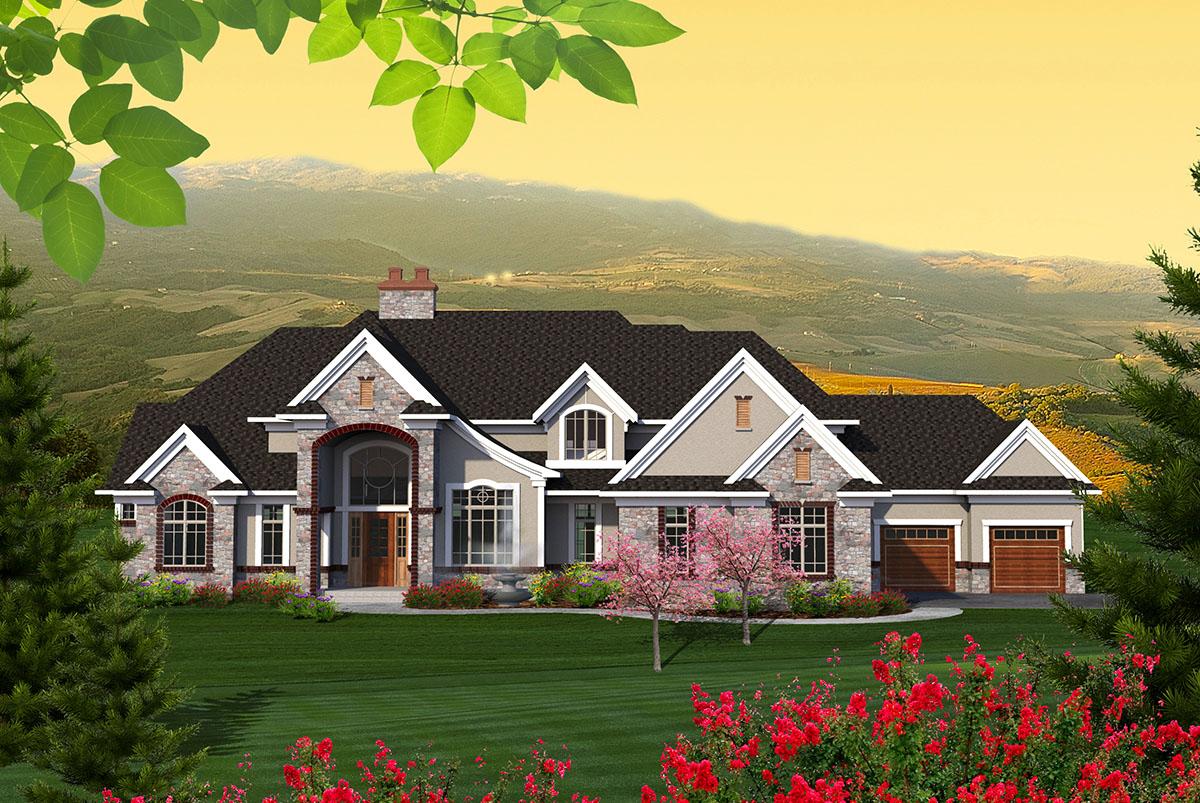 Sprawling European House Plan 89950ah Architectural