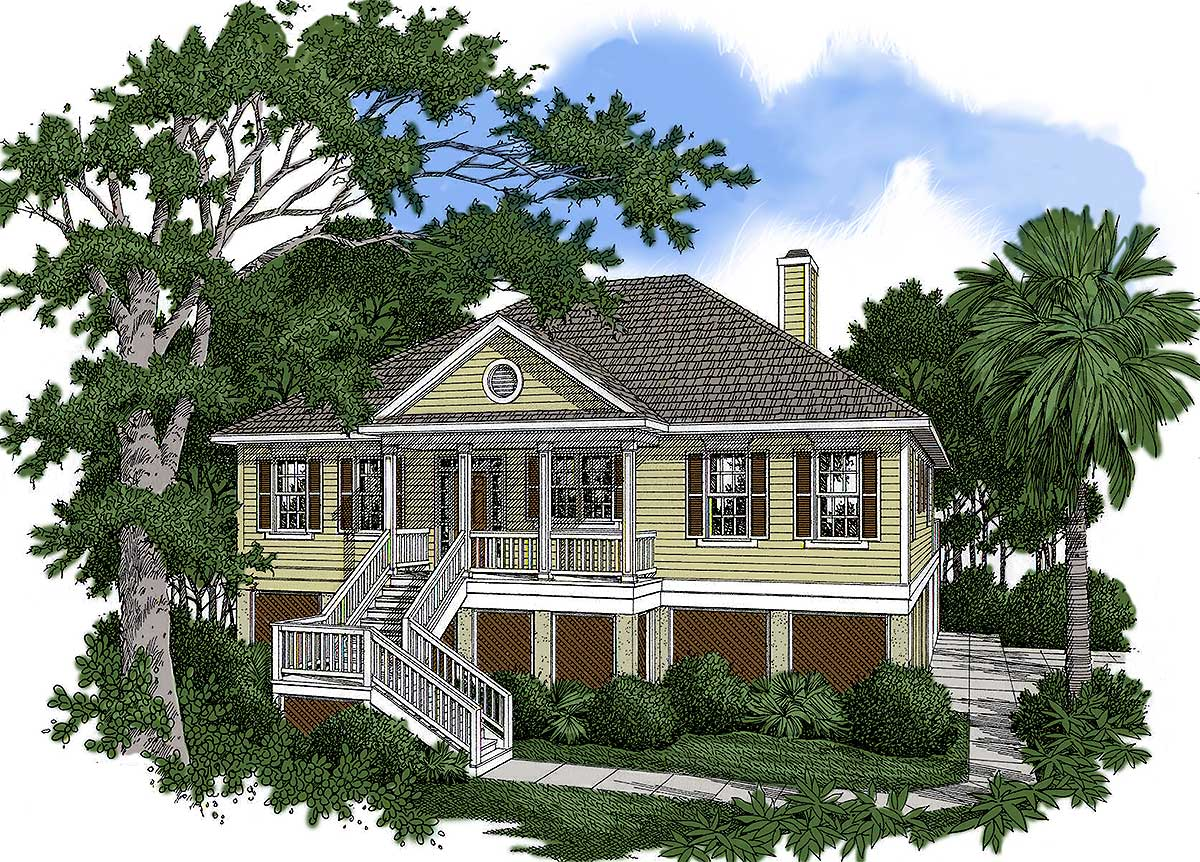 Country House Plan With Vaulted Great Room - 9100gu