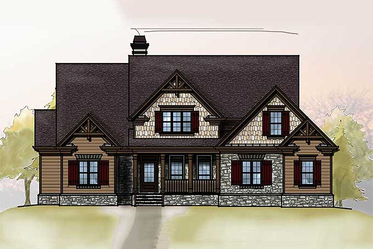 Rugged House Plan With Vaulted Family Room - 92338mx