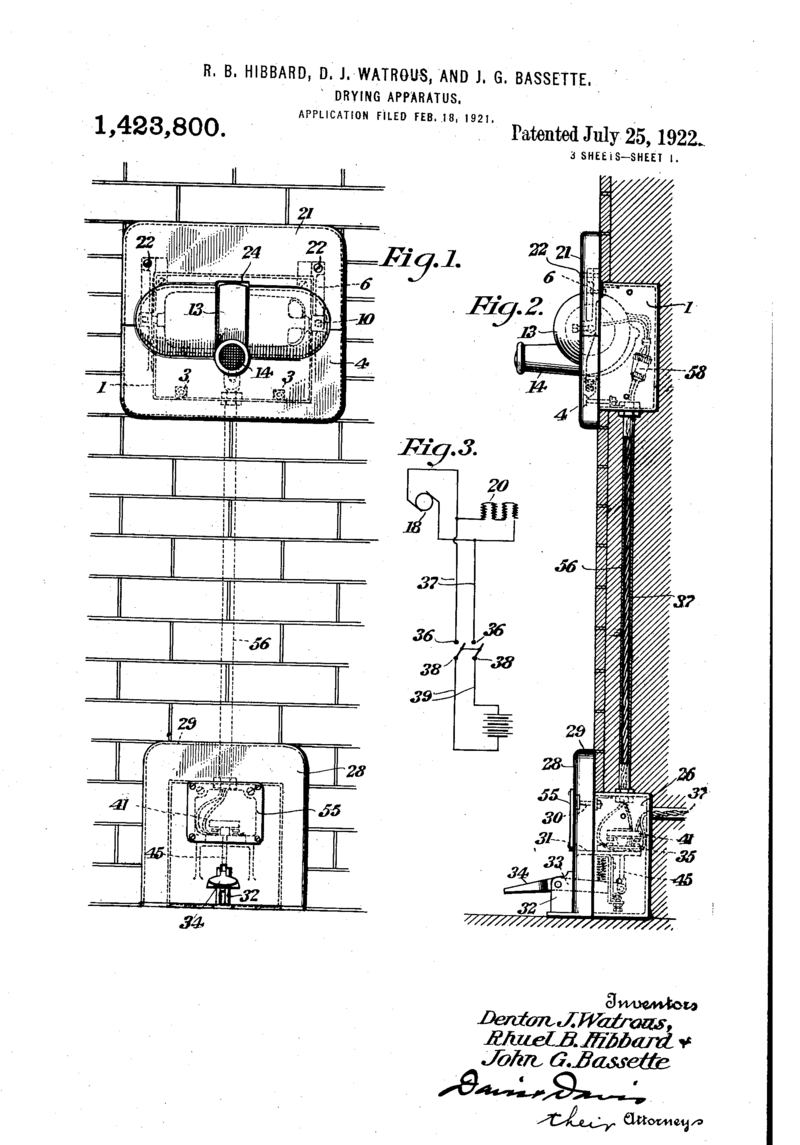 hight resolution of the 1922 airdry patent for a simple and efiicient apparatus for delivering a blast ofheated air for drying the face hands or hair of a person